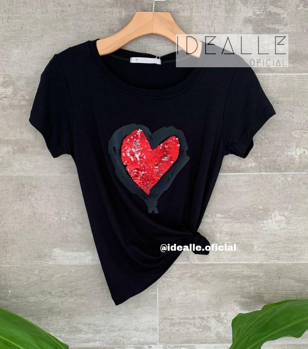 Imagem do produto T-Shirt Coração Rubi Preto