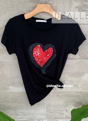 imagem T-Shirt Coração Rubi Preto