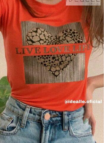 imagem T-Shirt Love Animal Print Laranja