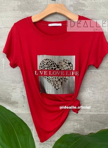 imagem T-Shirt Love Animal Print Vinho